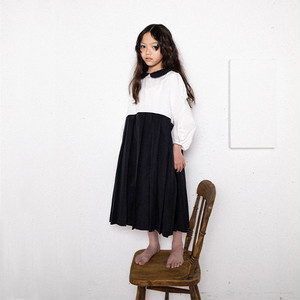 DOTS MT COLLAR PLEATS SKIRT DRESS