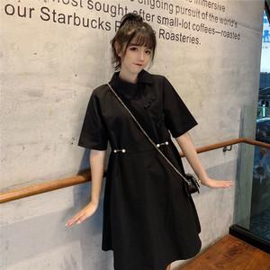 【ワンピース】折り襟韓国風シンプルレトロファッションボタン付きカジュアルワンピース22119613