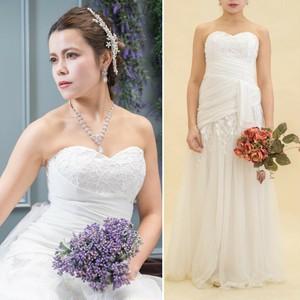 ベアトップスピンドルロングドレス~結婚式二次会ロングドレス ホワイト