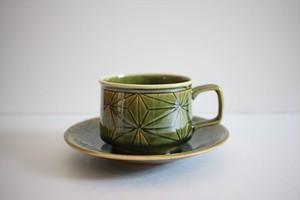 松岡賢司(平安楽堂) カップ&ソーサー 麻の葉 緑色