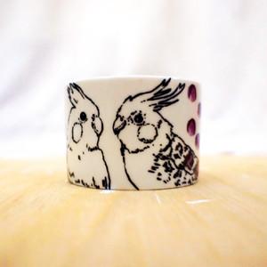 手描きマグカップ(横長サイズ)「インコ」 cup-03