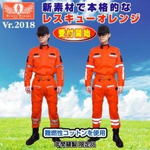 豪雨災害支援 夏向き1着縫製可能「新基準レスキューオレンジ防災服」 S~XL | 災害服 活動服の民間防災