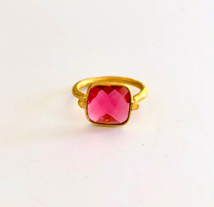 【Yum!Candy ring/red pink】ピンククオーツのリング