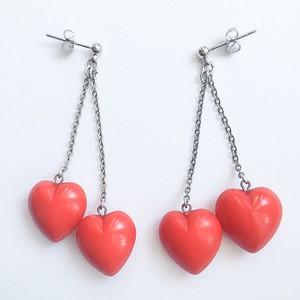 double heart dangle pierce[p-404]