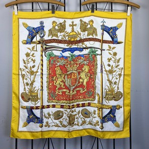 .HERMES CARRES90 THE QUEEN'S SILVER JUBILEE 1977 LARGE SIZE SILK 100% SCARF MADE IN FRANCE/エルメスカレ90 シルク100%大判スカーフ 2000000043524