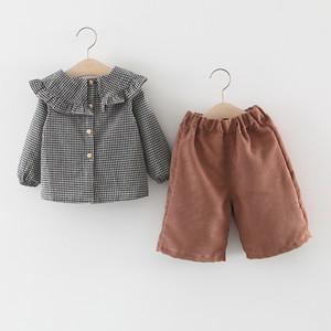 【子供服】キュート手触り良くチェック柄コットンラウンドネック女の子2点セット23477311