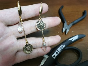 Coin and swarovski drop earrings