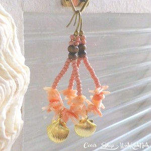 Coralreef&Shell Drop Pierce -Salmon Pink-