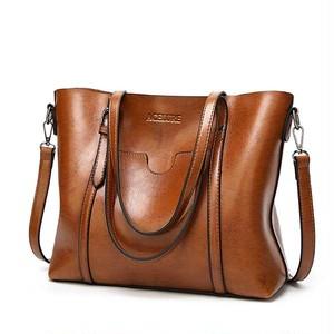 PUレザーハンドバッグ 財布付きポケット brown