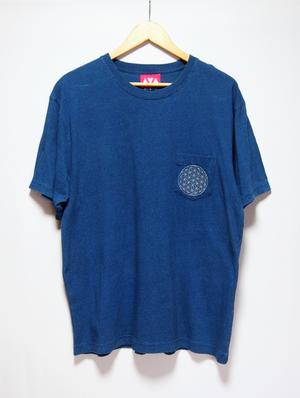 インディゴポケットTシャツ(麻炭プリント)