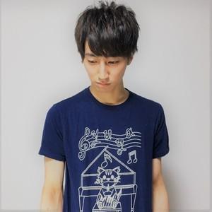 【残りわずか】イラストTシャツ ネイビー×ホワイト