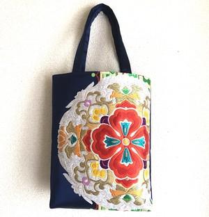【銀河の花】西陣帯の手提げバッグ