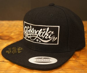 RAKUGAKI 2017 Melton Wool Box Logo SnapBack Cap Black x White