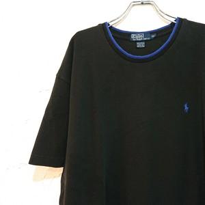 【USED】ラルフローレン ロゴT XXL 鹿の子素材 ブラック