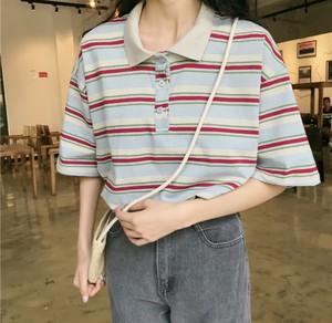 オーバーサイズでメンズライクコーデ♡ マルチカラー ボーダー ポロシャツ ロング