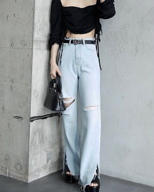 CRUSH SLIT FLARE DENIM PANTS