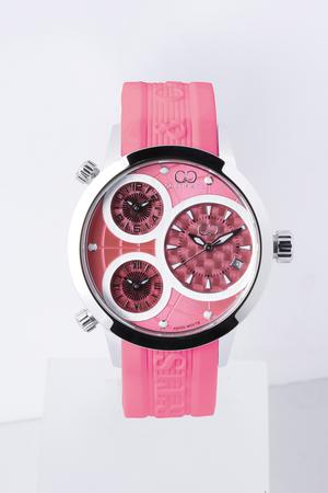 【仮面女子コラボモデル!裏面に仮面女子の刻印入り!】Big Time WORLD 42mm 3Time Zone Pink/Stainless