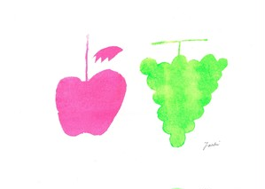 apple and grape (pink and green)