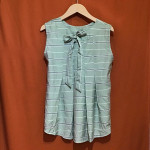 Back Ribbon Sleeveless Tops  Color : Border/Green