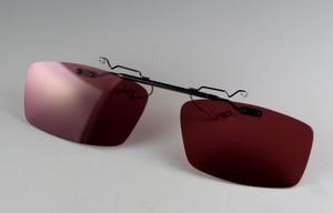 【ドライブ用サングラス】レンズ交換可能!超軽量前掛け偏光サングラス/ローズレッド