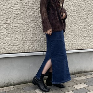 (LOOK) denim slit long tight skirt