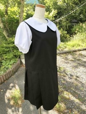 【特別セール】制服のように着たい、ブラウス+ジャンパースカート風の可愛い丸襟ワンピース(白×黒) オフィス ビジネス 通勤 通学 オールシーズン パフスリーブ 一点もの【プレミアムシリーズ】