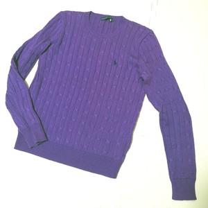 Ralph Lauren ラルフローレン 長袖 コットン ニット セーター パープル ブランドロゴ刺繍