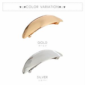 【ヘア】全2色!オーバル型メタルバレッタ髪留め