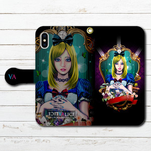 #044-028 iPhoneケース スマホケース 手帳型 全機種対応 人気 女子 iPhoneXS/X Xperia iPhone5/6/6s/7/8 ケース おしゃれ 不思議の国のアリス Galaxy ARROWS AQUOS HUAWEI Zenfone タイトル:Light Alice 作:kis