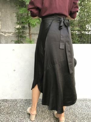 セットアップサテンレトロ巻きスカート