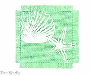 Shell ジュートコースター Mint
