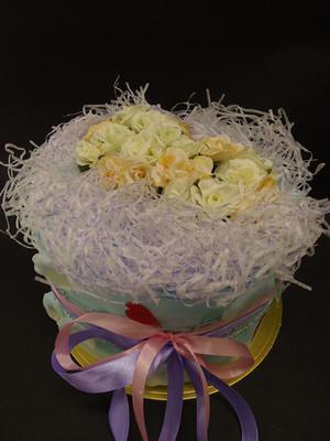 送料無料☆おむつケーキ「ブルーフラワー☆ペタル花びら」直径25センチ