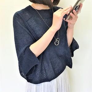 和紙糸混 超軽量 ゆったり爽やかメッシュセーター 【送料無料】