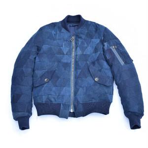 "HAKOU""波光"" 藍染 袴 リメイク パッチワーク MA-1 Jacket"