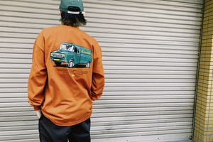 Truck  L/S Tee【Ash gray / Dark orange】