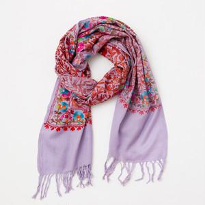 華やぐ刺繍ストール(パープル)/ネパールからの贈り物