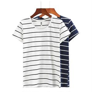 ボーダーロング丈Tシャツ/tops1060