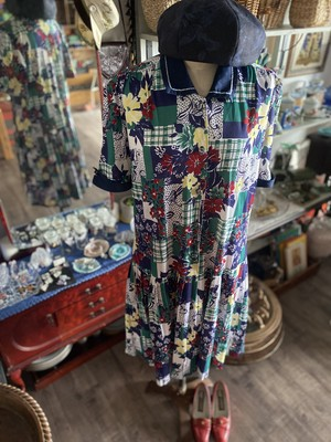 80s France Vintage ローウエストワンピース_Navy Blue&Flowers