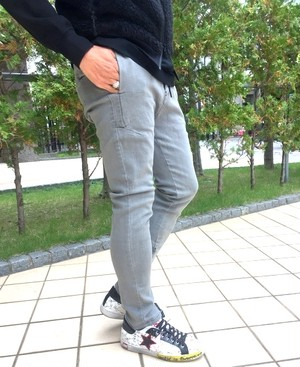 Stretch Denim Zip Pants Gray