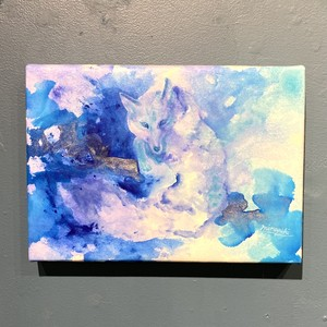 【made blue/峰雪mineyuki】原画「Watercolor Fox -Spring blue-」