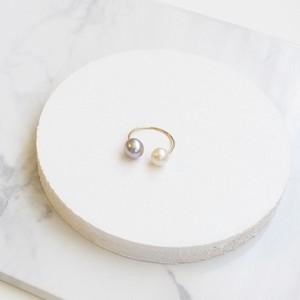 ■double pearl hoop -gray-■ ダブルパールフープ グレー