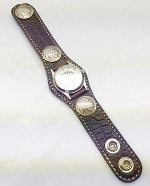 KC,s 3コンチョ クロコダイル ブレスレット 腕時計 男女兼用 本革 レザーブレス 全4色 牛革 クロコダイル 【店頭受取対応商品】