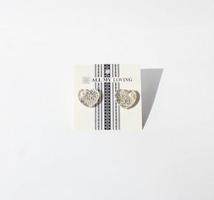 博多織樹脂ピアス (RP-21)白 ホワイト シルバー 銀 パール ハート レジン 和装 着物 博多献上