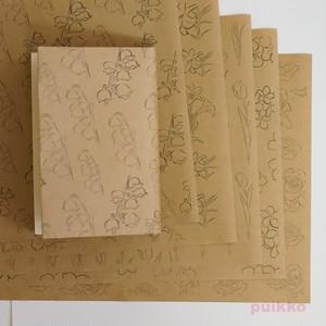 紙製ブックカバー 花・線画