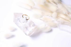 090-r 伝統文化品美濃焼多治見四つ葉タイル指輪・リング(フリーサイズ) ※証明書付