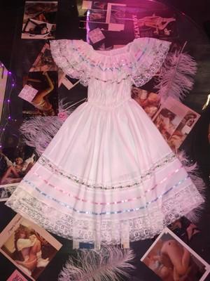 vintage Mexican dress / white