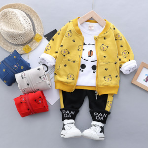 【セットアップ】上質ファッション動物柄プリントジッパーコットン長袖レギュラー丈3点セット24838036