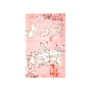 鳥獣戯画 三つ折りファイルうさぎ ピンク