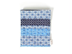 ハリネズミ用寝袋 M(夏用) 綿リップル×スムースニット 和柄 ブルー