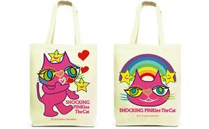 両面デザイン・トートバッグ(Mサイズ): 猫のショッキングピンキー/  宇宙からの投げキッス & レインボーワンダーランド